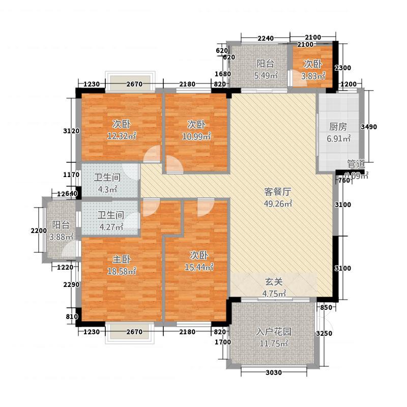 公庄山水花园3176.27㎡3号楼C02户型5室2厅2卫1厨