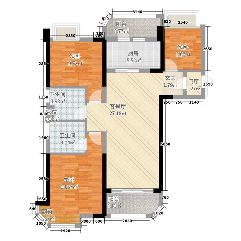 碧桂园32113.20㎡A型户户型3室2厅2卫1厨