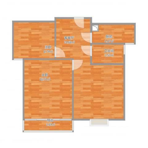 顺美华庭2室1厅1卫1厨82.00㎡户型图