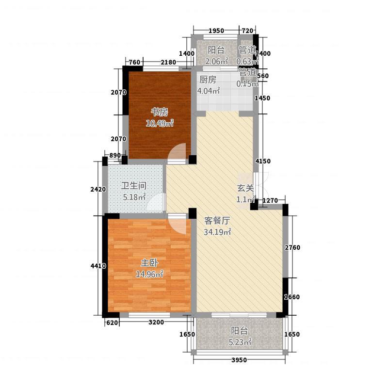 东方花园215.20㎡E户型2室2厅1卫1厨