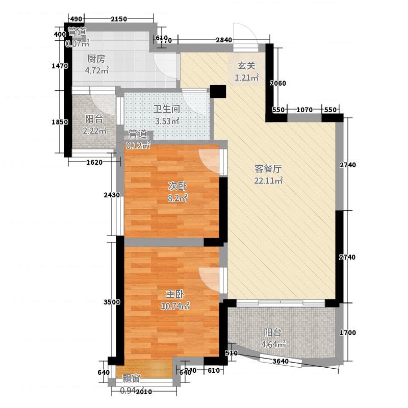 碧桂园2282.20㎡D型户户型2室2厅1卫1厨