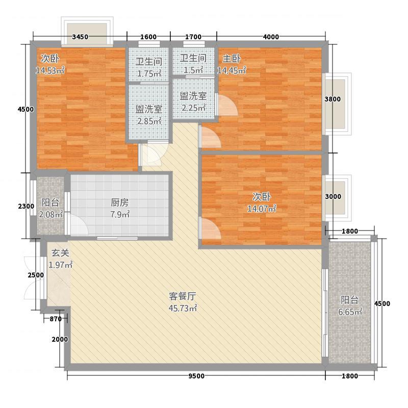 银城广场二期13.20㎡F户型3室2厅2卫1厨