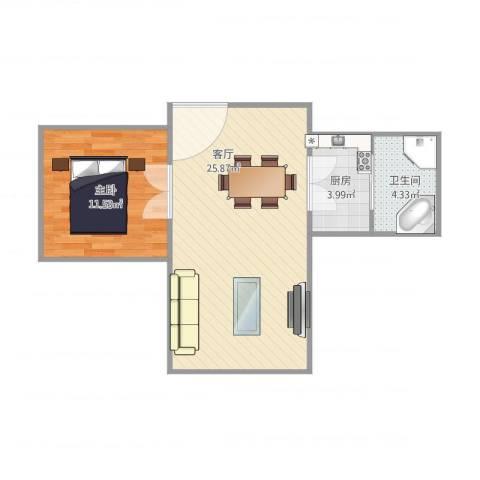 多宝华厦6221室1厅1卫1厨61.00㎡户型图