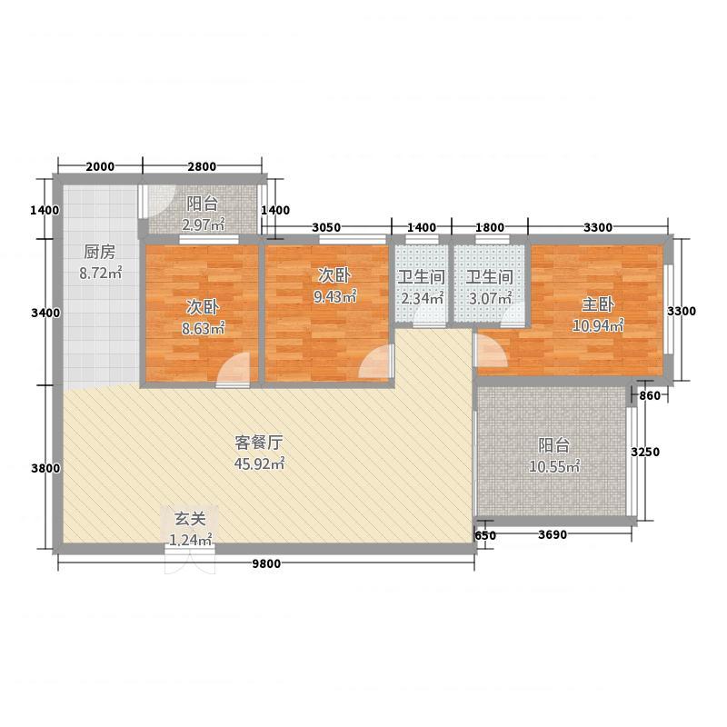 天境名厦4322133.50㎡户型3室2厅2卫1厨