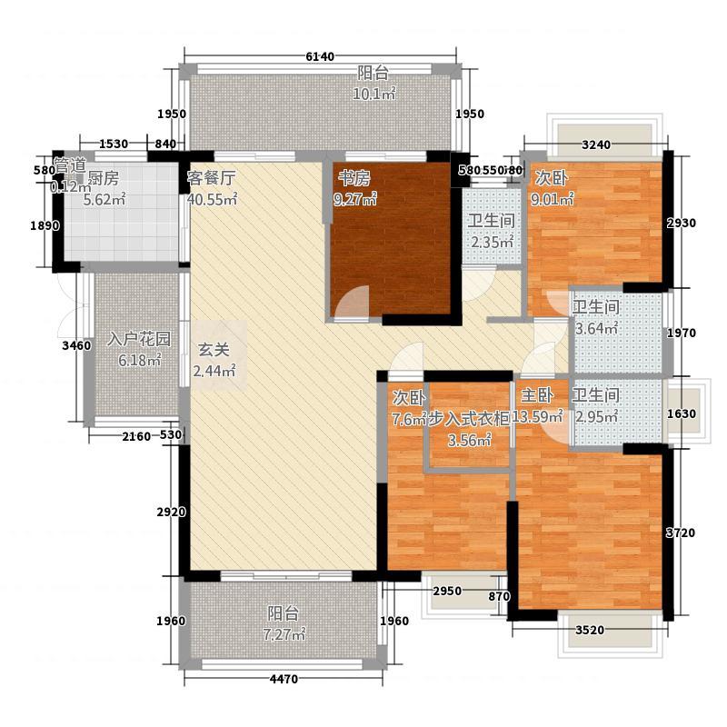 公园壹号14375540736.00㎡户型4室2厅3卫1厨