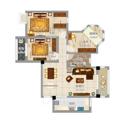 幸福人家3室1厅1卫1厨136.00㎡户型图