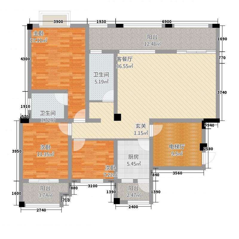 帝乡提亚纳庄园12.34㎡B户型3室2厅2卫1厨