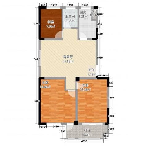 东方花园3室1厅1卫1厨3117.00㎡户型图