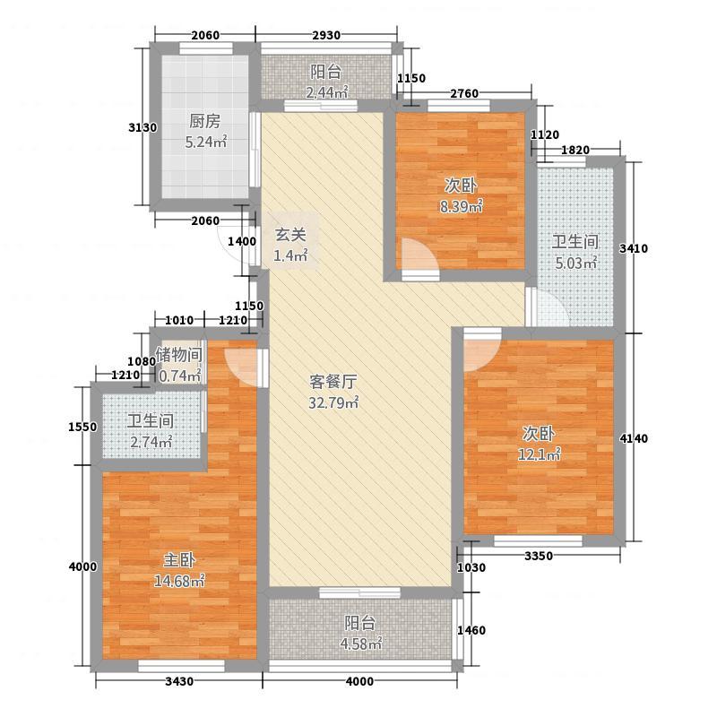 世纪名都512.23㎡一期5#B户型3室2厅2卫1厨