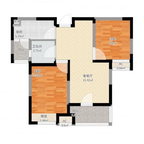 中环紫郡2室1厅1卫1厨91.00㎡户型图