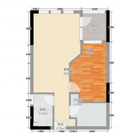 庆隆南山高尔夫玺馆1室1厅1卫1厨52.00㎡户型图