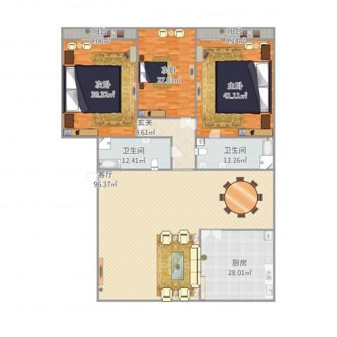 君逸左岸3室1厅2卫1厨361.00㎡户型图