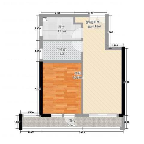 庆隆南山高尔夫玺馆1室1厅1卫1厨46.00㎡户型图