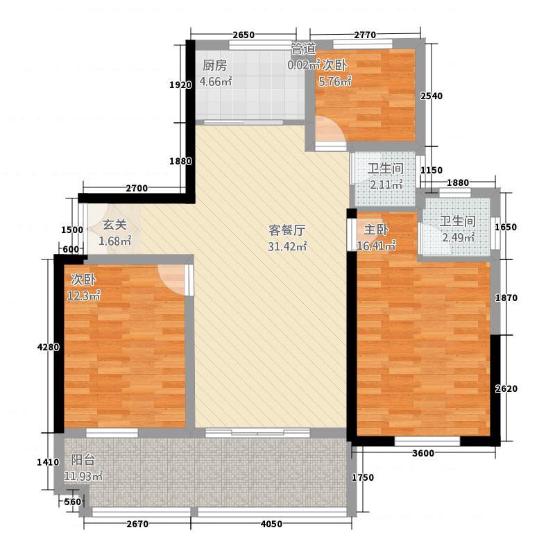 宝马花园125.14㎡户型3室2厅2卫