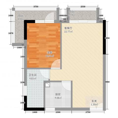 庆隆南山高尔夫玺馆1室1厅1卫1厨51.00㎡户型图