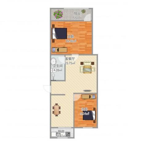 燕舞园2室1厅1卫1厨86.00㎡户型图