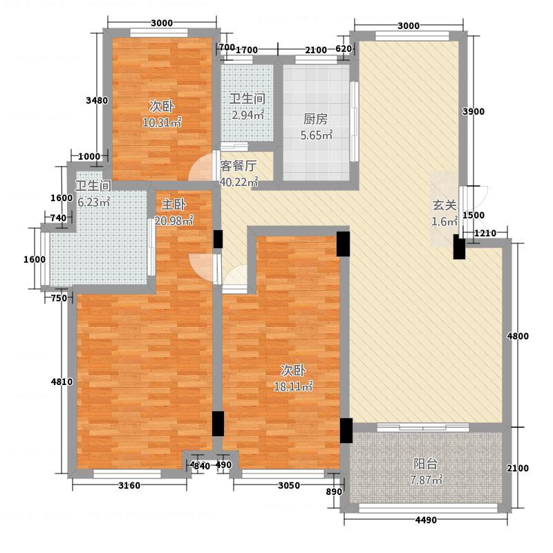 东方盛悦131.20㎡户型3室2厅2卫1厨
