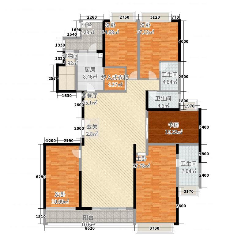 美的广场2252.20㎡C02单位户型4室2厅3卫1厨