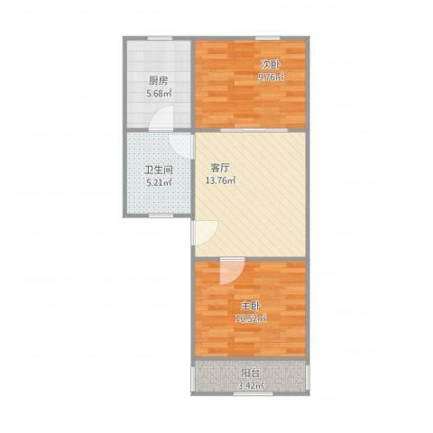 富康新村2室1厅1卫1厨66.00㎡户型图