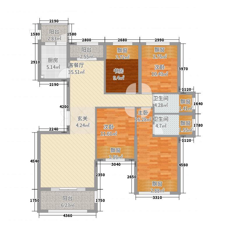 龙汇御景4155.20㎡户型4室2厅2卫1厨