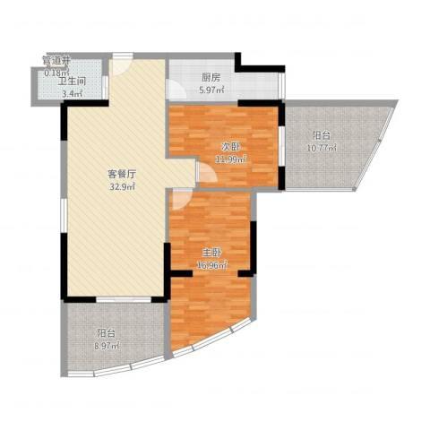 南昌国际金融中心2室1厅1卫1厨128.00㎡户型图