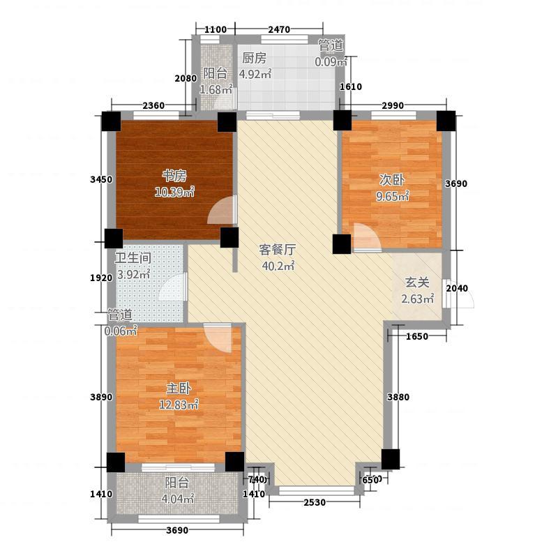 塞纳庄园3218.52㎡C户型3室2厅1卫1厨