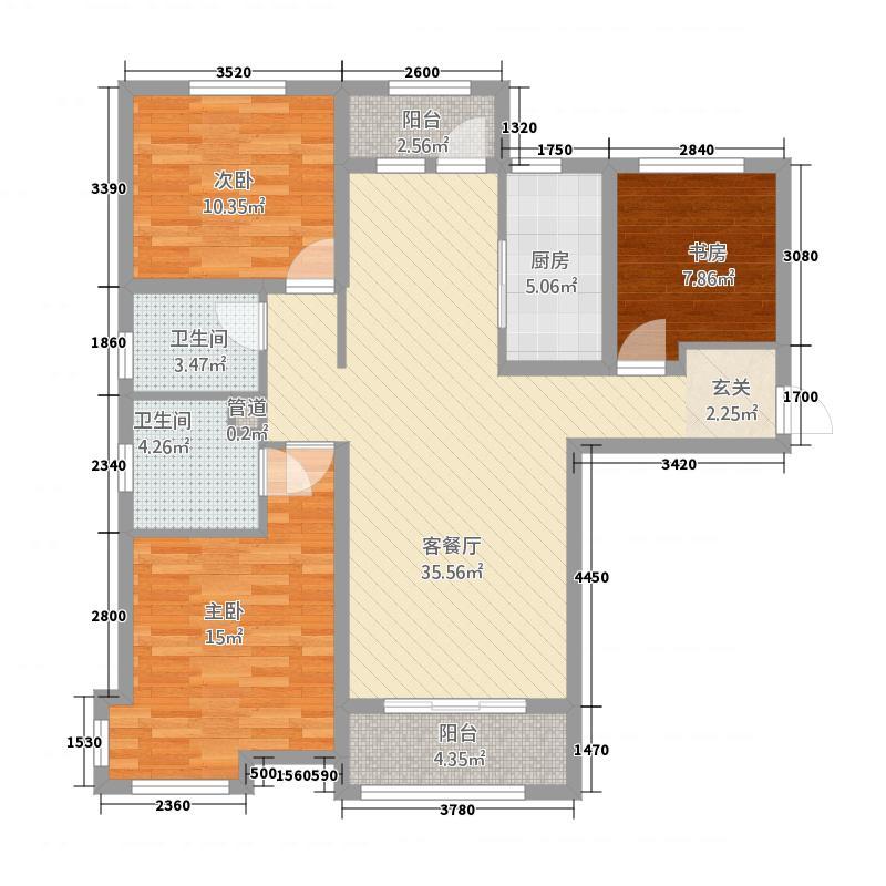 万科东郡1112151168.00㎡11#12#15#16#C3户型3室2厅2卫1厨