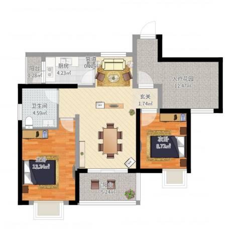 西双版纳滨江果园避寒度假山庄2室1厅1卫1厨105.00㎡户型图