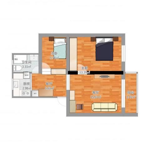 巨野小区2室2厅1卫1厨74.00㎡户型图