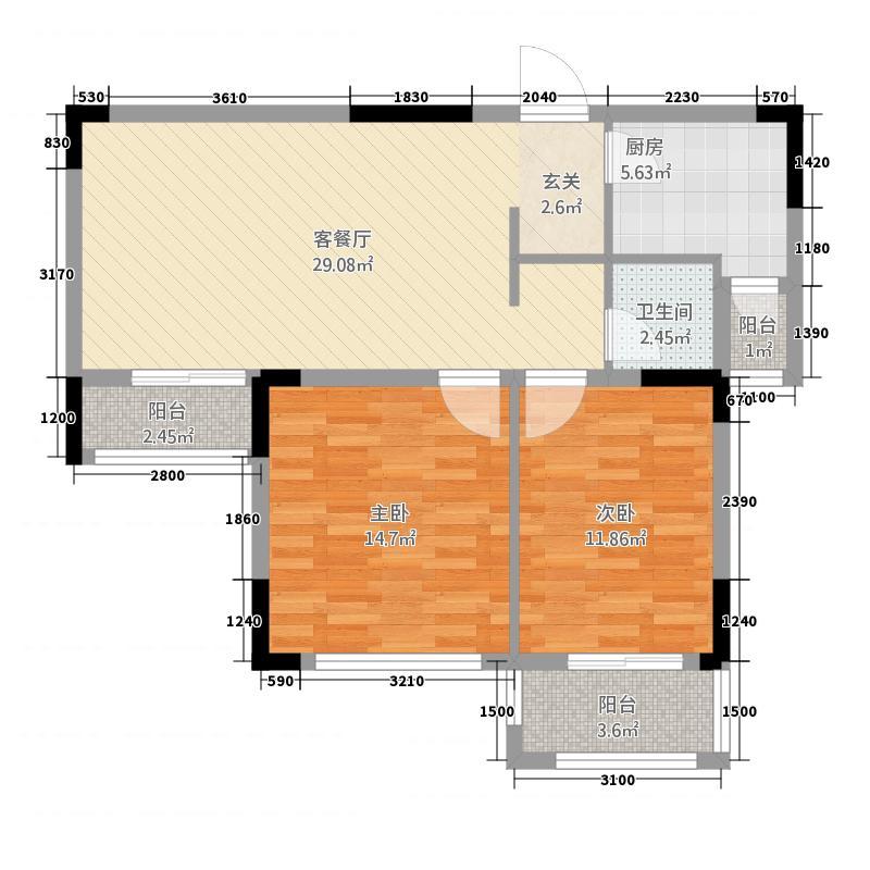德胜中央城148787.33㎡1409879_m户型2室2厅1卫1厨
