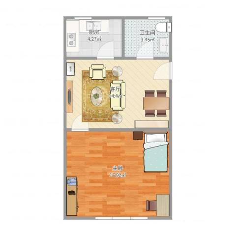 国和一村1室1厅1卫1厨54.00㎡户型图