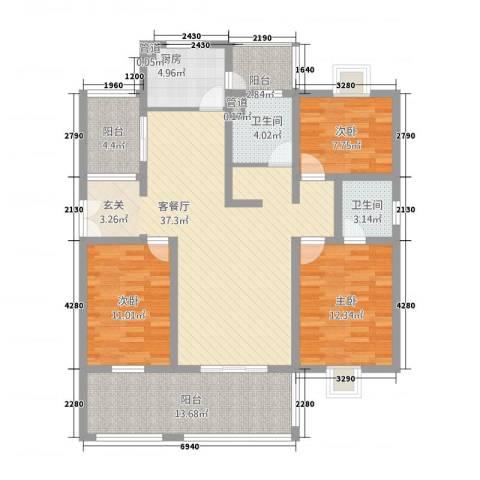 东湖京华3室1厅2卫1厨3144.00㎡户型图