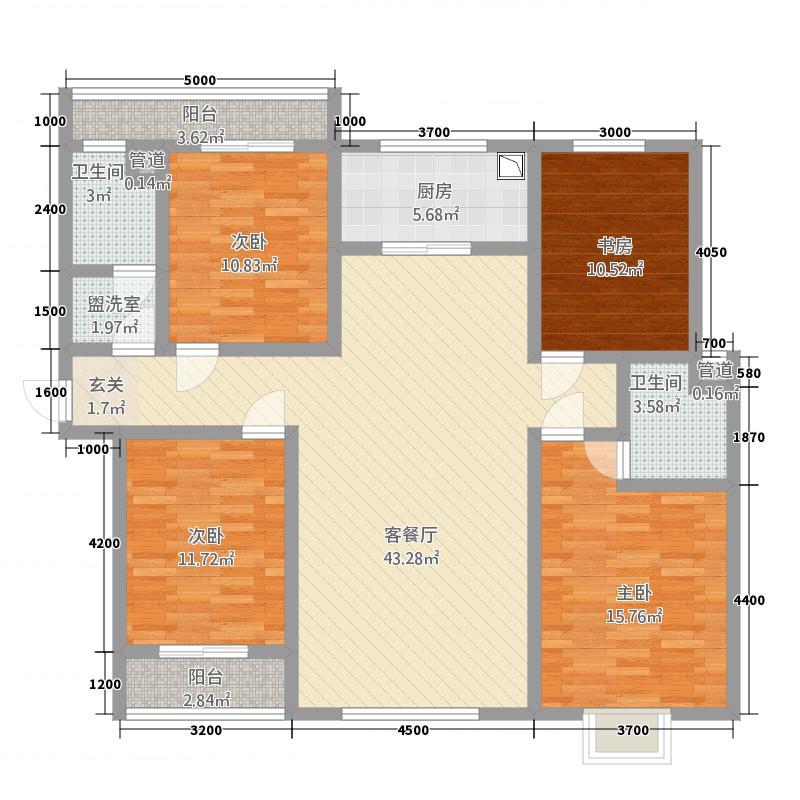 翠堤春晓5162.25㎡5#标准层F户型4室2厅2卫1厨