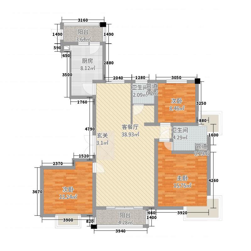 世茂世纪中心144.20㎡三期世茂尚城11号楼A1户型3室2厅2卫1厨