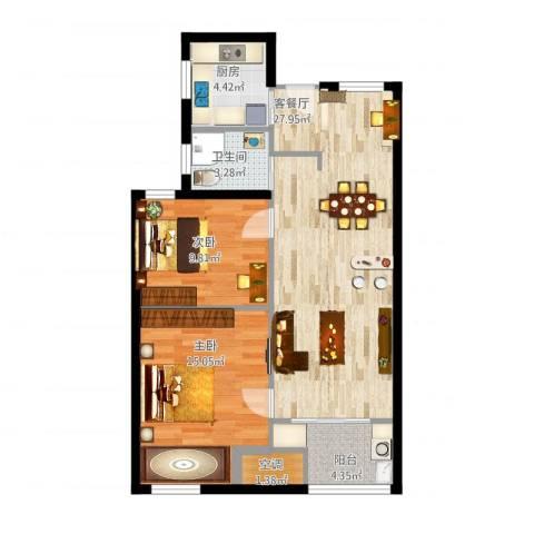 新城悠活城2室1厅2卫1厨93.00㎡户型图