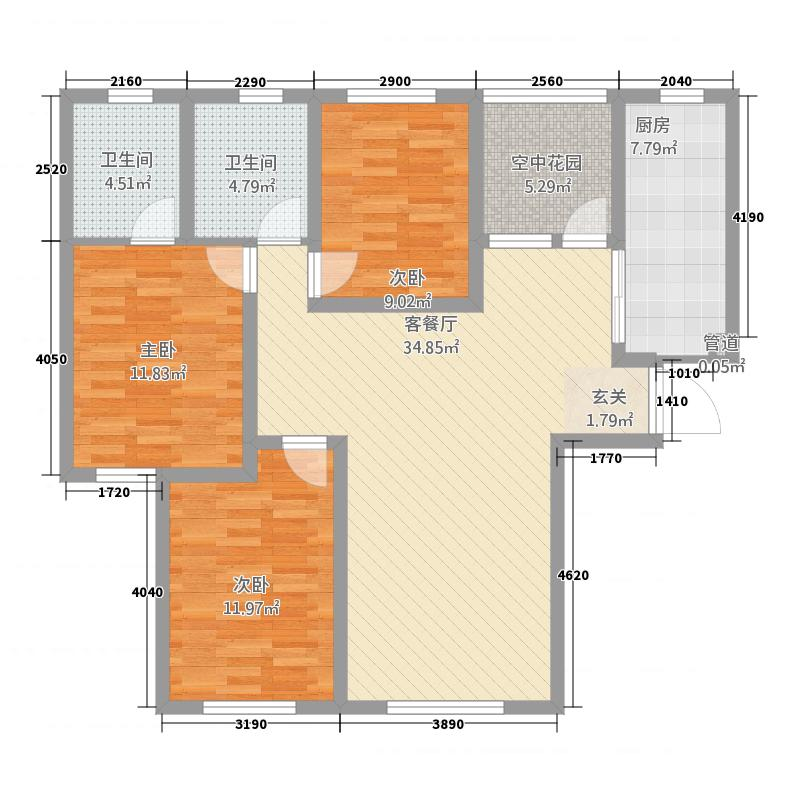 迪臣・世博广场12.10㎡世博1#3#户型3室2厅2卫1厨