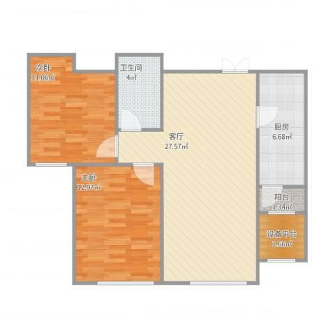 中国塘2室1厅1卫1厨89.00㎡户型图