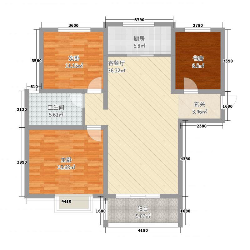 珍爱佳苑32.20㎡B户型3室2厅1卫1厨