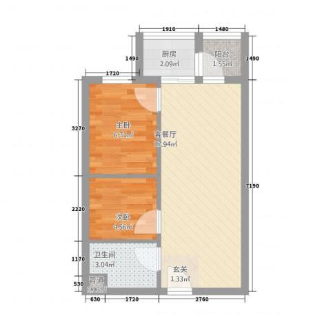 祈福海湾2室1厅1卫1厨53.00㎡户型图