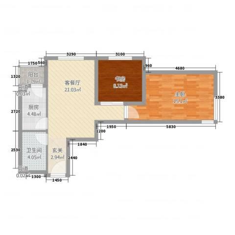 星光城2室1厅1卫1厨54.62㎡户型图