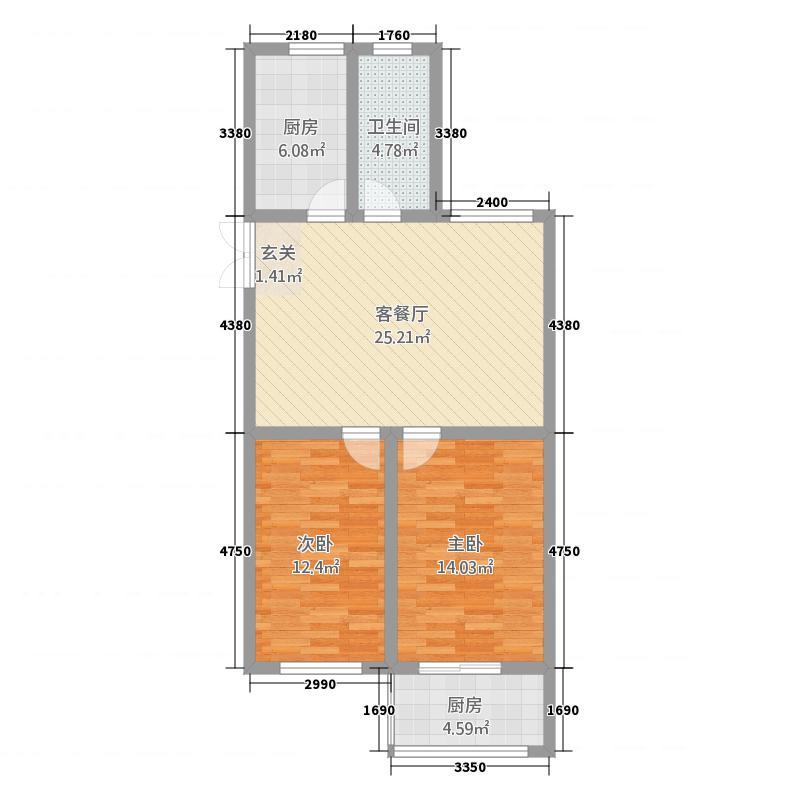 金隆花园326.20㎡户型2室2厅1卫1厨