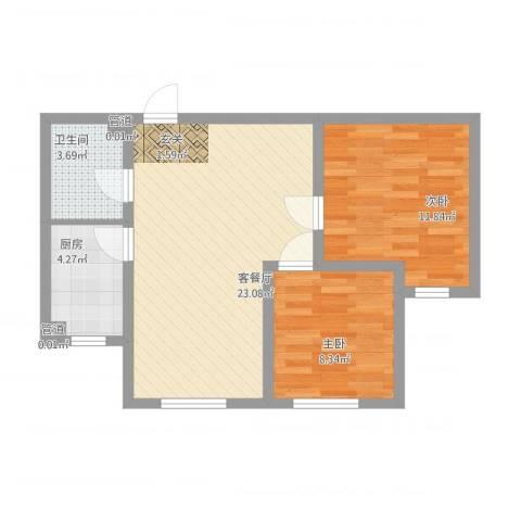乐活・两岸568庄园2室1厅1卫1厨74.00㎡户型图