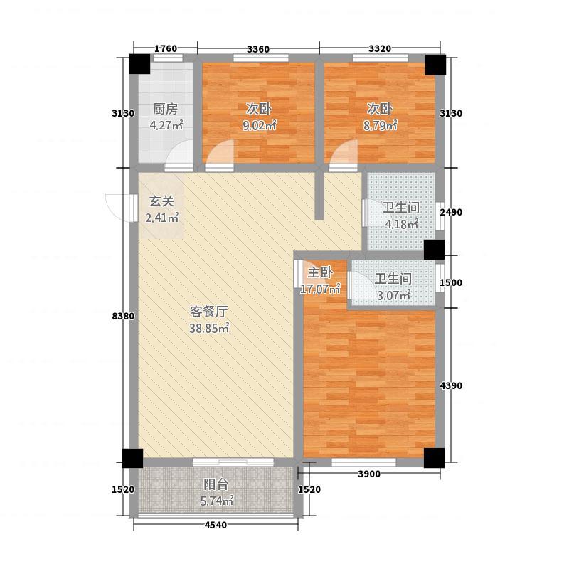 国际商贸城1313.20㎡户型3室2厅2卫1厨