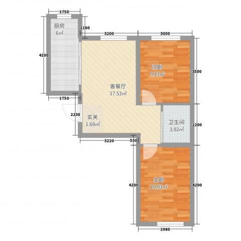 轩泽硅谷壹号2室1厅1卫1厨46.61㎡户型图