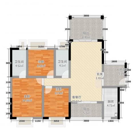 远太万城1号3室1厅2卫1厨89.31㎡户型图