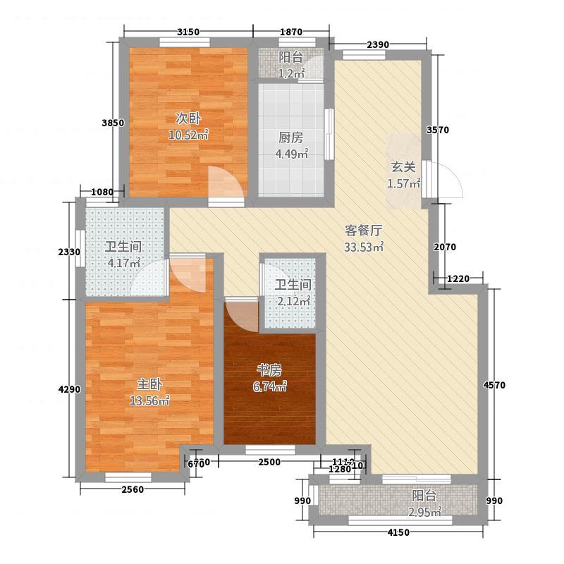 三期洋房标准层115平米户型