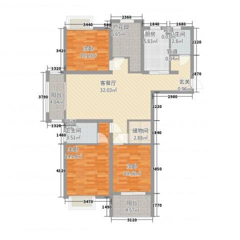 凯帝京都3室1厅2卫1厨1322141.00㎡户型图