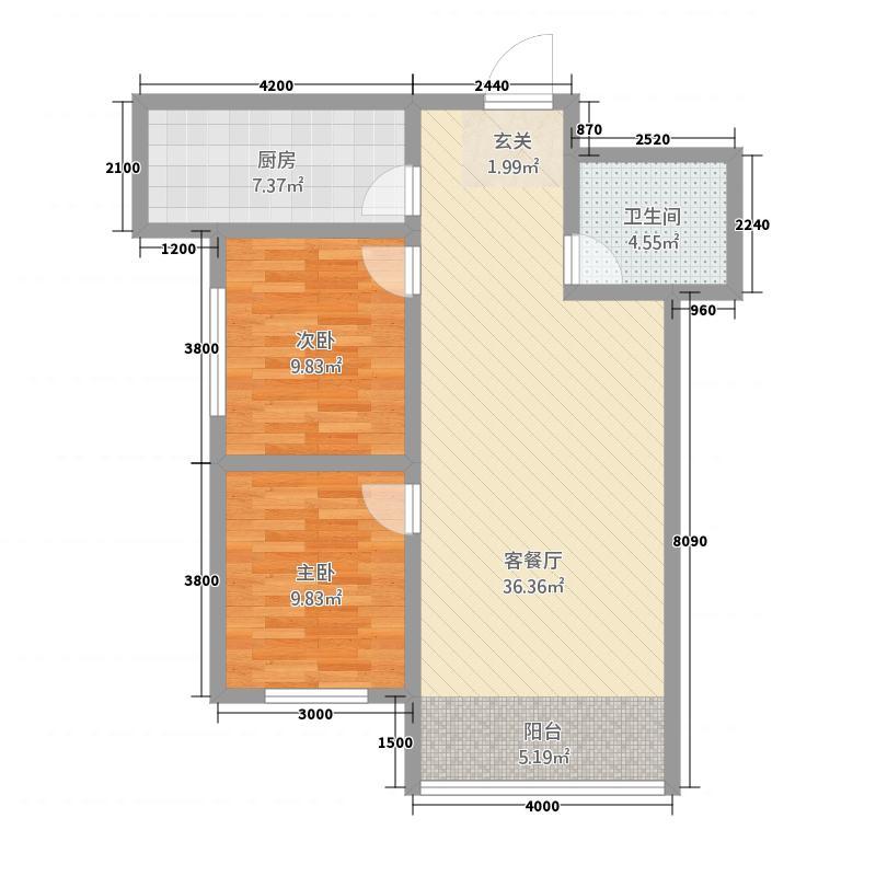 恒基・御苑28.22㎡2-2-1-1-9802户型
