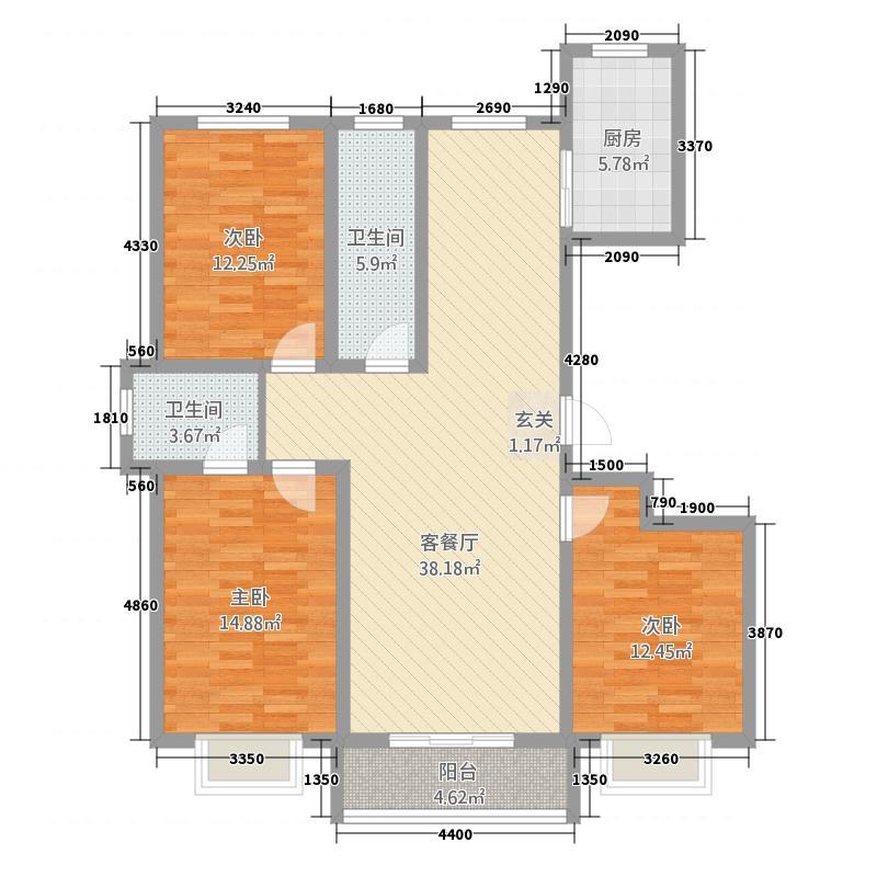 瑞园小区1313.12㎡户型3室2厅2卫