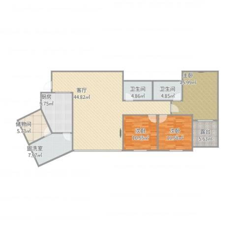 恒福阁3室2厅2卫1厨162.00㎡户型图